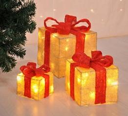 LED Deko Geschenk Boxen - 3er Set inkl. Timer Funktion - Weihnachts Dekoration Weihnachtsdeko Geschenke - 1