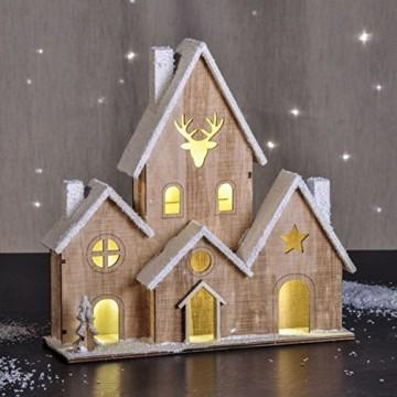 LED Holz Haus beleuchtet - Tischdeko mit 6 Lichtern - Weihnachtsdeko Fensterdeko - 1