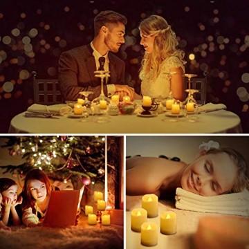 LED Kerzen, synmixx 12 LED Flammenlose Teelichter Flackern Kerzen mit Fernbedienung, Timerfunktion, Dimmbar, Elektrische Kerze Lichter für Weihnachtsdeko, Party, Geburtstags (Warmweiß) - 2