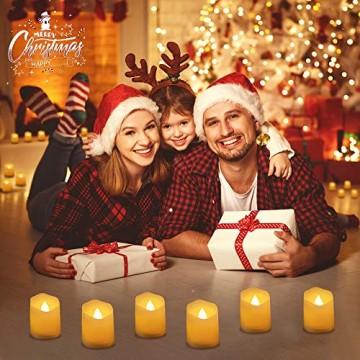 LED Kerzen, synmixx 12 LED Flammenlose Teelichter Flackern Kerzen mit Fernbedienung, Timerfunktion, Dimmbar, Elektrische Kerze Lichter für Weihnachtsdeko, Party, Geburtstags (Warmweiß) - 3