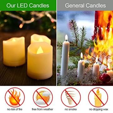 LED Kerzen, synmixx 12 LED Flammenlose Teelichter Flackern Kerzen mit Fernbedienung, Timerfunktion, Dimmbar, Elektrische Kerze Lichter für Weihnachtsdeko, Party, Geburtstags (Warmweiß) - 4