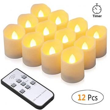 LED Kerzen, synmixx 12 LED Flammenlose Teelichter Flackern Kerzen mit Fernbedienung, Timerfunktion, Dimmbar, Elektrische Kerze Lichter für Weihnachtsdeko, Party, Geburtstags (Warmweiß) - 1