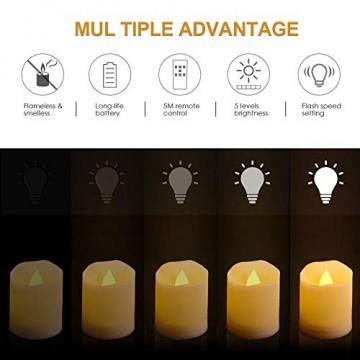 LED Kerzen, synmixx 12 LED Flammenlose Teelichter Flackern Kerzen mit Fernbedienung, Timerfunktion, Dimmbar, Elektrische Kerze Lichter für Weihnachtsdeko, Party, Geburtstags (Warmweiß) - 6