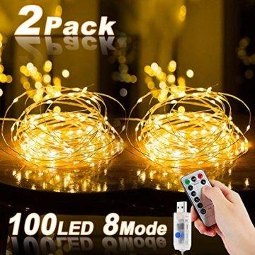 Led Lichterkette, Nasharia 2 Stück 10M 100LED USB Lichterkette Draht Wasserdicht mit Schalter, Kupferdraht Stimmungs Lichterkette für Zimmer, Innen, Weihnachten, Außen, Party, Hochzeit, DIY usw. - 1