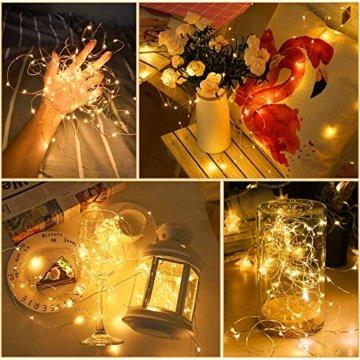 Led Lichterkette, Nasharia 2 Stück 10M 100LED USB Lichterkette Draht Wasserdicht mit Schalter, Kupferdraht Stimmungs Lichterkette für Zimmer, Innen, Weihnachten, Außen, Party, Hochzeit, DIY usw. - 6