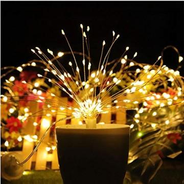 LED Lichterkette, Queta Lichtkette mit Fernbedienung Outdoor Weihnachtslichterkette Batteriebetrieben, explodierendes Feuerwerk, Warmweiß (120 Lichter) - 2