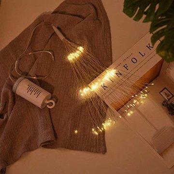 LED Lichterkette, Queta Lichtkette mit Fernbedienung Outdoor Weihnachtslichterkette Batteriebetrieben, explodierendes Feuerwerk, Warmweiß (180 Lichter) - 7