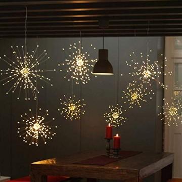 LED Lichterkette, Queta Lichtkette mit Fernbedienung Outdoor Weihnachtslichterkette Batteriebetrieben, explodierendes Feuerwerk, Warmweiß (120 Lichter) - 4