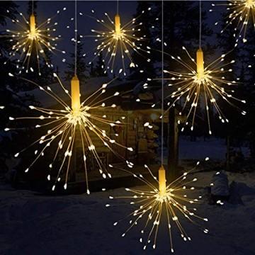 LED Lichterkette, Queta Lichtkette mit Fernbedienung Outdoor Weihnachtslichterkette Batteriebetrieben, explodierendes Feuerwerk, Warmweiß (120 Lichter) - 1