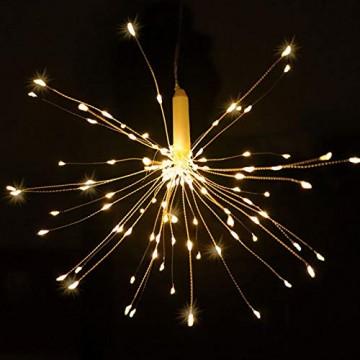 LED Lichterkette, Queta Lichtkette mit Fernbedienung Outdoor Weihnachtslichterkette Batteriebetrieben, explodierendes Feuerwerk, Warmweiß (120 Lichter) - 7