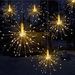 LED Lichterkette, Queta Lichtkette mit Fernbedienung Outdoor Weihnachtslichterkette Batteriebetrieben, explodierendes Feuerwerk, Warmweiß (180 Lichter) - 1