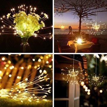 LED Lichterkette, Queta Lichtkette mit Fernbedienung Outdoor Weihnachtslichterkette Batteriebetrieben, explodierendes Feuerwerk, Warmweiß (180 Lichter) - 3