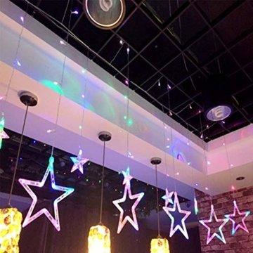 LED Lichterkette Star vorhang lichterkette,Innen- und Außen Deko Glühbirne,2.5m 138LEDs String Lichter Lights für Weihnachten Hochzeit Party Weihnachtsbaum Haushalt Garten weihnachten deko (Farbe) - 3