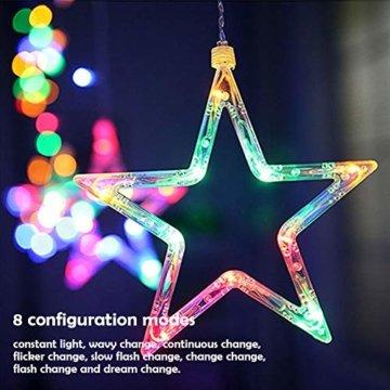 LED Lichterkette Star vorhang lichterkette,Innen- und Außen Deko Glühbirne,2.5m 138LEDs String Lichter Lights für Weihnachten Hochzeit Party Weihnachtsbaum Haushalt Garten weihnachten deko (Farbe) - 4
