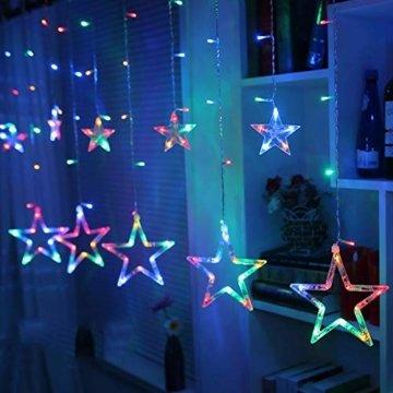 LED Lichterkette Star vorhang lichterkette,Innen- und Außen Deko Glühbirne,2.5m 138LEDs String Lichter Lights für Weihnachten Hochzeit Party Weihnachtsbaum Haushalt Garten weihnachten deko (Farbe) - 1