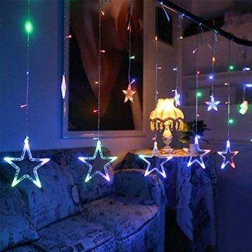 LED Lichterkette Star vorhang lichterkette,Innen- und Außen Deko Glühbirne,2.5m 138LEDs String Lichter Lights für Weihnachten Hochzeit Party Weihnachtsbaum Haushalt Garten weihnachten deko (Farbe) - 7