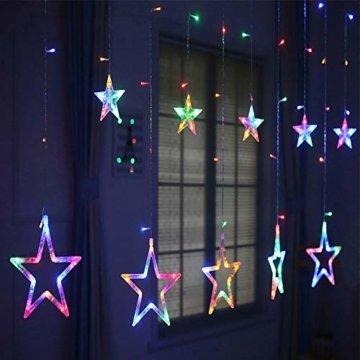 LED Lichterkette Star vorhang lichterkette,Innen- und Außen Deko Glühbirne,2.5m 138LEDs String Lichter Lights für Weihnachten Hochzeit Party Weihnachtsbaum Haushalt Garten weihnachten deko (Farbe) - 8
