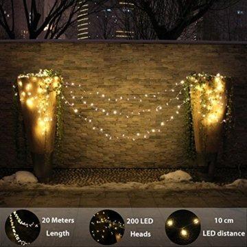 LED Lichterkette, von myCozyLite®, 200 LED Deko Lichterketten in 20 Metern Lang, Warmweiß, Wasserdicht für Innen und Außen - 4