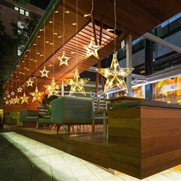 LED Lichtervorhang 12 Sterne Weihnachtsbeleuchtung - Avoalre 108 LEDs Sternenvorhang Fernbedienung mit Timer + 8 Leuchtmodi + 4 Dimmung IP44 wasserdicht Weihnachtsdeko für Fenster Balkon Innen Außen - 2