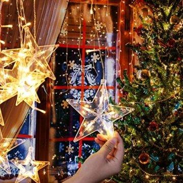 LED Lichtervorhang 12 Sterne Weihnachtsbeleuchtung - Avoalre 108 LEDs Sternenvorhang Fernbedienung mit Timer + 8 Leuchtmodi + 4 Dimmung IP44 wasserdicht Weihnachtsdeko für Fenster Balkon Innen Außen - 4