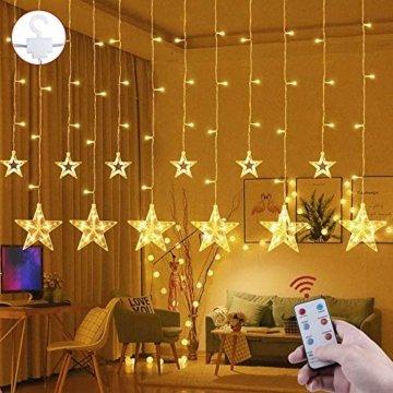 LED Lichtervorhang 12 Sterne Weihnachtsbeleuchtung - Avoalre 108 LEDs Sternenvorhang Fernbedienung mit Timer + 8 Leuchtmodi + 4 Dimmung IP44 wasserdicht Weihnachtsdeko für Fenster Balkon Innen Außen - 1