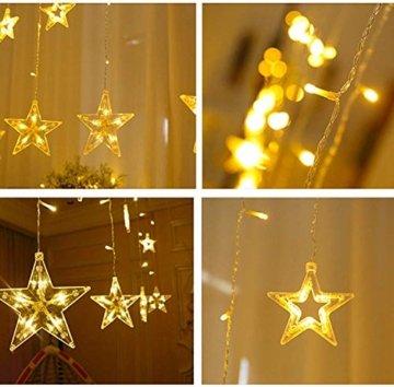 LED Lichtervorhang 12 Sterne Weihnachtsbeleuchtung - Avoalre 108 LEDs Sternenvorhang Fernbedienung mit Timer + 8 Leuchtmodi + 4 Dimmung IP44 wasserdicht Weihnachtsdeko für Fenster Balkon Innen Außen - 7