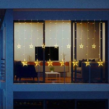 LED Lichtervorhang 12 Sterne Weihnachtsbeleuchtung - Avoalre 108 LEDs Sternenvorhang Fernbedienung mit Timer + 8 Leuchtmodi + 4 Dimmung IP44 wasserdicht Weihnachtsdeko für Fenster Balkon Innen Außen - 8