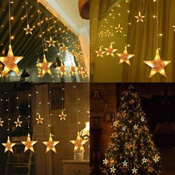 LED Lichtervorhang 12 Sterne Weihnachtsbeleuchtung - Avoalre 108 LEDs Sternenvorhang Fernbedienung mit Timer + 8 Leuchtmodi + 4 Dimmung IP44 wasserdicht Weihnachtsdeko für Fenster Balkon Innen Außen - 9