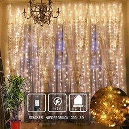 Led Lichtervorhang für Weihnachten 300 leds sterne Lichterkette weihnachtsdeko Innen Außen Garten Fenster deko Innenbeleuchtung warmweiß 3x3m - 1