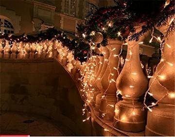 LED Lichtervorhang, LED Lichterkette, 216 LED 5M Eisregen/Eiszapfen Lichterkette, LED String Licht, Lichterkettenvorhang, Weihnachtsbeleuchtung, Weihnachtsdeko Christmas INNEN und AUSSEN, Warmweiß - 3