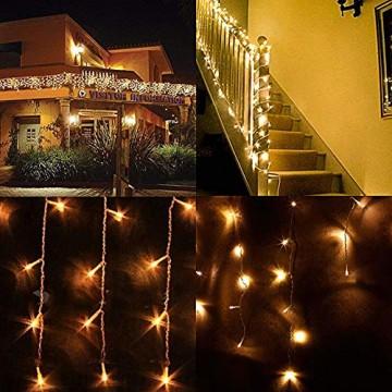LED Lichtervorhang, LED Lichterkette, 216 LED 5M Eisregen/Eiszapfen Lichterkette, LED String Licht, Lichterkettenvorhang, Weihnachtsbeleuchtung, Weihnachtsdeko Christmas INNEN und AUSSEN, Warmweiß - 7