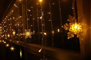 LED Lichtervorhang, LED Lichterkette, WeihnachtenBeleuchtung, 93 LED Lichterkettenvorhang, Lang Schneeflocke LED String Licht, EU Stecker, Innen/Außen, Weihnachtsdeko Christmas, Warmweiß 3.5 * 0.8M - 2