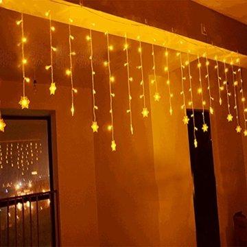 LED Lichtervorhang, LED Lichterkette, WeihnachtenBeleuchtung, 93 LED Lichterkettenvorhang, Lang Schneeflocke LED String Licht, EU Stecker, Innen/Außen, Weihnachtsdeko Christmas, Warmweiß 3.5 * 0.8M - 3