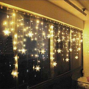 LED Lichtervorhang, LED Lichterkette, WeihnachtenBeleuchtung, 93 LED Lichterkettenvorhang, Lang Schneeflocke LED String Licht, EU Stecker, Innen/Außen, Weihnachtsdeko Christmas, Warmweiß 3.5 * 0.8M - 1
