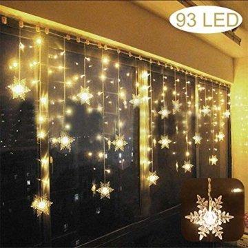LED Lichtervorhang Lichter, LED Lichterkette, Weihnachtsbeleuchtung, 93er LED Lichtervorhang Lang Schneeflocke LED String Licht, Innen/Außen Weihnachtsdeko Deko Christmas 3.5 x 0.8 m - 1