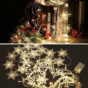 LED Lichtervorhang Lichter, LED Lichterkette, Weihnachtsbeleuchtung, 93er LED Lichtervorhang Lang Schneeflocke LED String Licht, Innen/Außen Weihnachtsdeko Deko Christmas 3.5 x 0.8 m - 5