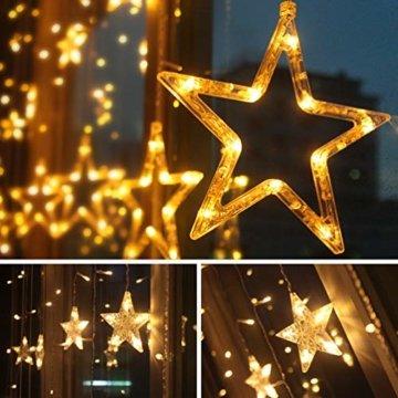 LED Lichtervorhang Sterne Warmweiß Mit Fernbedienung Weihnachtsbeleuchtung Innen Fenster Für Weihnachten Party Hochzeit IP44 31V 8 Modi Mit Timer Dimmbar 138er LEDs Lichterkette Aussen 2,5Mx1M  - 2