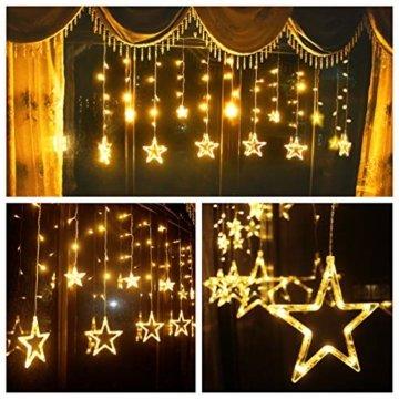 LED Lichtervorhang Sterne Warmweiß Mit Fernbedienung Weihnachtsbeleuchtung Innen Fenster Für Weihnachten Party Hochzeit IP44 31V 8 Modi Mit Timer Dimmbar 138er LEDs Lichterkette Aussen 2,5Mx1M  - 3