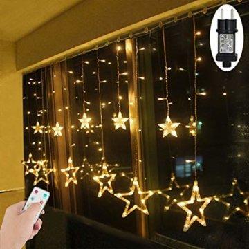LED Lichtervorhang Sterne Warmweiß Mit Fernbedienung Weihnachtsbeleuchtung Innen Fenster Für Weihnachten Party Hochzeit IP44 31V 8 Modi Mit Timer Dimmbar 138er LEDs Lichterkette Aussen 2,5Mx1M  - 1