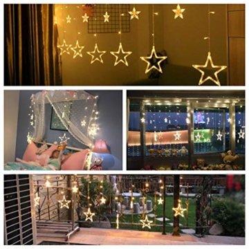 LED Lichtervorhang Sterne Warmweiß Mit Fernbedienung Weihnachtsbeleuchtung Innen Fenster Für Weihnachten Party Hochzeit IP44 31V 8 Modi Mit Timer Dimmbar 138er LEDs Lichterkette Aussen 2,5Mx1M  - 7