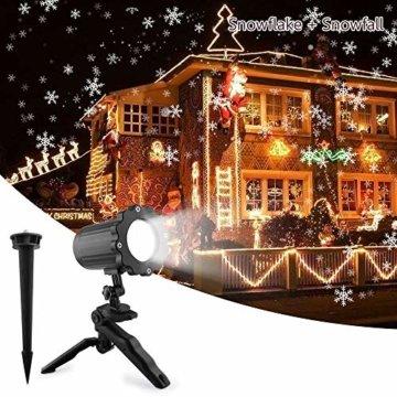 LED Schneeflocke Projektor Licht, UNIFUN Wasserdicht Schneefall Weihnachtsbeleuchtung Aussen LED Projektionslampe für Außen und Innen Deko,Partys, Weinachten und Feiertage - 1