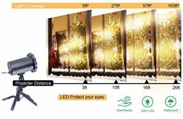 LED Schneeflocke Projektor Licht, UNIFUN Wasserdicht Schneefall Weihnachtsbeleuchtung Aussen LED Projektionslampe für Außen und Innen Deko,Partys, Weinachten und Feiertage - 5