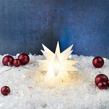 LED-Stern, batteriebetrieben, Ø12cm | Timer-Funktion: 6 Stunden AN | 18 Stunden AUS | Kabellänge: 1,5m | mit 18 Strahlen & 2 LED-Lichtern in Warmweiß | Fenster-Deko zu Weihnachten (Weiß | 3 Stück) - 3