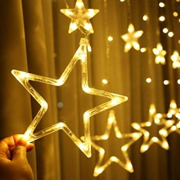 Led Sterne Lichterkette, Lichtervorhang Weihnachten Fensterbeleuchtung Partylichterkette Warmweiß Weihnachtsbeleuchtung Mit 12 Sterne 138 Leuchtioden AußEn Innen für Weihnachtsdeko Fensterdeko - 4