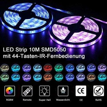 LED Streifen 10M, VOYOMO LED Strips RGB 300LEDs SMD5050, 20 Farben mit 44 Tasten IR-Fernbedienung, 12V 5A Netzteil IP65 Wasserdicht für Beleuchtung Deko, Küche, Terrasse, Party und ganzes Haus - 4