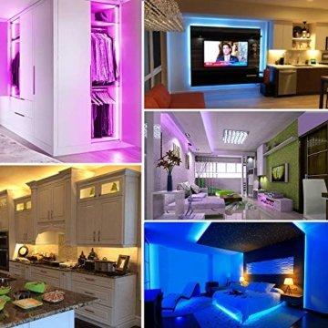 LED Streifen 10M, VOYOMO LED Strips RGB 300LEDs SMD5050, 20 Farben mit 44 Tasten IR-Fernbedienung, 12V 5A Netzteil IP65 Wasserdicht für Beleuchtung Deko, Küche, Terrasse, Party und ganzes Haus - 6