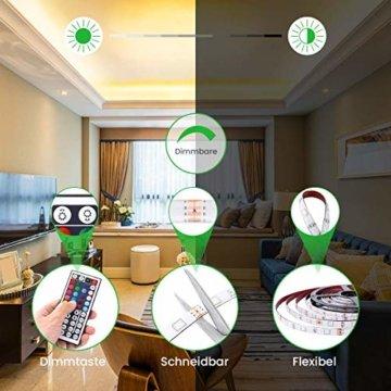 LED Streifen 10M, VOYOMO LED Strips RGB 300LEDs SMD5050, 20 Farben mit 44 Tasten IR-Fernbedienung, 12V 5A Netzteil IP65 Wasserdicht für Beleuchtung Deko, Küche, Terrasse, Party und ganzes Haus - 7