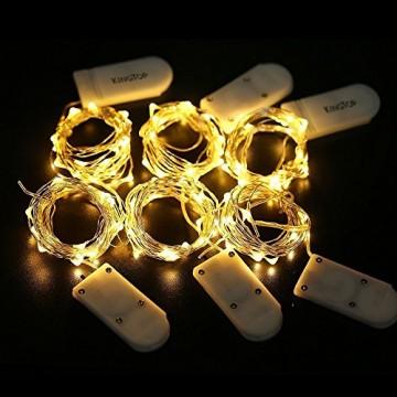 Led String Lichter 6 Stück KingTop Fairy Micro Lights 2M 20 LED batteriebetriebene Silver Wire Wasserdichte Lichter für Holiday Party Hochzeit Mittelstück Flasche Dekoration - 4