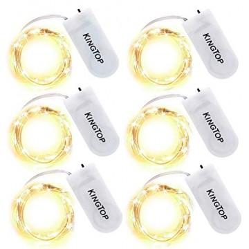 Led String Lichter 6 Stück KingTop Fairy Micro Lights 2M 20 LED batteriebetriebene Silver Wire Wasserdichte Lichter für Holiday Party Hochzeit Mittelstück Flasche Dekoration - 1