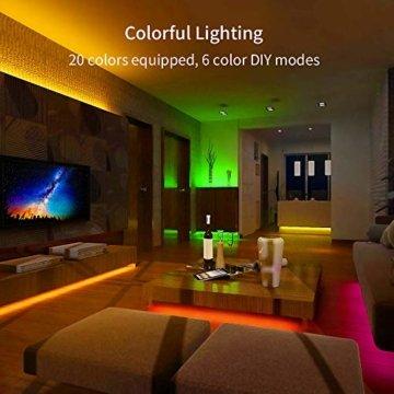 LED Strip Lichterkette, Govee 5m RGB Farbänderung LED Streifen Lichtband Selbstklebend mit Fernbedienung und Controller für Zuhause, Schlafzimmer, TV, Schrankdeko, Hell 5050 LED Band, Schnittbar - 5
